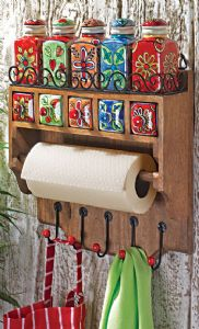 Kitchen Rack~Wooden Utility Rack with Hand Painted Ceramic Jars~Fair Trade Folio Gothic Hippy STC12